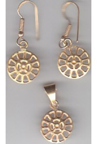 Brass Ear Ring + Pendent (Set) - plain - 18g