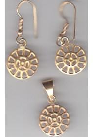Brass Ear Ring + Pendent (Set) - plain - 18g