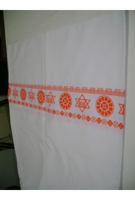 White  Bedsheet with border prints  - 60x90