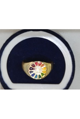 Brass Tiny Ring - with Multi Colour Symbol