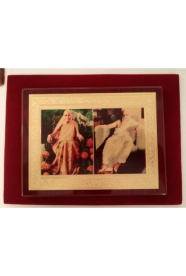 """Wooden Frame with The Mother's & Sri Aurobindo's photos (gold foil) - 7""""X9"""""""